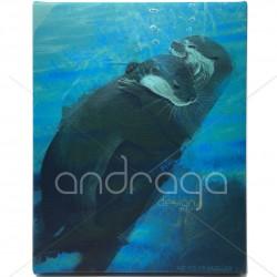 Deep Embrace Otters Canvas...